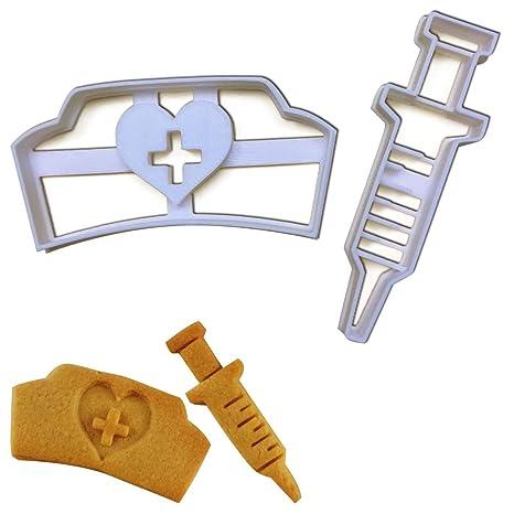 Amazon.com: Set de 2 cortadores de galletas (Enfermera ...