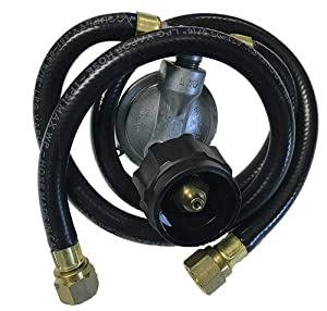 "Gas Grill Dual Propane LP Gas 21"" Hose and Vertical Gas Regulator Assembly"
