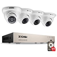 ZOSI 8 Channel 720p HD-TVI Security Camera System,1080P Lite Video DVR Recorder (1TB HDD Built-in) and (4) 1.0MP(1280TVL) Day Night Indoor/Outdoor Weahterproof Dome Surveillance Cameras