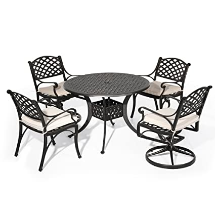 Round Table Patio Dining Sets.Amazon Com Nuu Garden Outdoor Patio Furniture 5 Piece Powder Coated