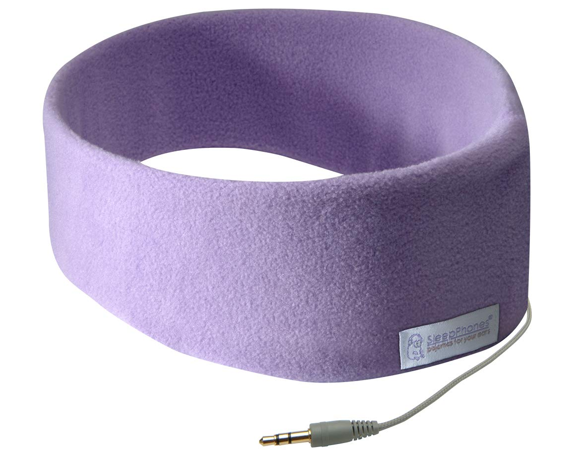 AcousticSheep SleepPhones Classic | Corded Headphones for Sleep, Travel, and More | The Original and Most Comfortable Headphones for Sleeping | Quiet Lavender - Fleece Fabric (Size M)