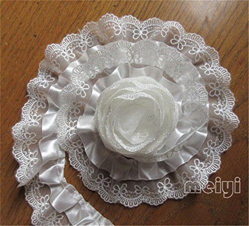 2 Meters 2-Layer Quality Satin Pleated Scallop Organza Lace Edge Gathered Trim Ribbon 5.2 cm Width Chic Style White Edging Trimmings Fabric Embroidered Applique Sewing Craft Wedding Dress DIY Decor ()