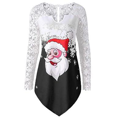 33963c51b8010 HARRYSTORE Women Merry Christmas Blouse Lace Panel Santa Claus Print  Patchwork Asymmetrical T-Shirt Long Sleeve Tunic Tops  Amazon.co.uk   Clothing