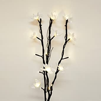 Modern decorative black twig branch lights with gorgeous white modern decorative black twig branch lights with gorgeous white flowers amazon lighting mightylinksfo