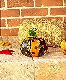 Set of 2 Small White Orange & Black Metal Polka Dot Pumpkins Halloween Fall Autumn Decor