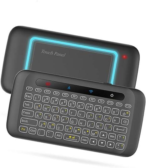 Control Remoto Mini Teclado Sin Hilos De Luz De Fondo Touchpad Ratón del Aire De IR Inclinada para Andorid Caja Smart TV/Windows/Mac/Xbox / PS3: Amazon.es: Deportes y aire libre