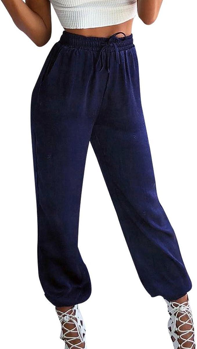 STRIR Mujer Pantalones de chándal con Cintura elástica y Bolsillos ...