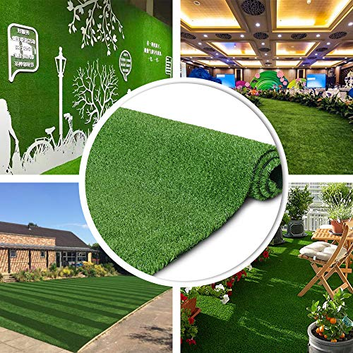 Petgrow 7 FT X 12 FT Synthetic Artificial Grass Turf for Garden Backyard Patio Balcony, Drainage Holes & Rubber Backing,Indoor Outdoor Faux Grass Astro Rug,DIY Decorations for Fence Backdrop