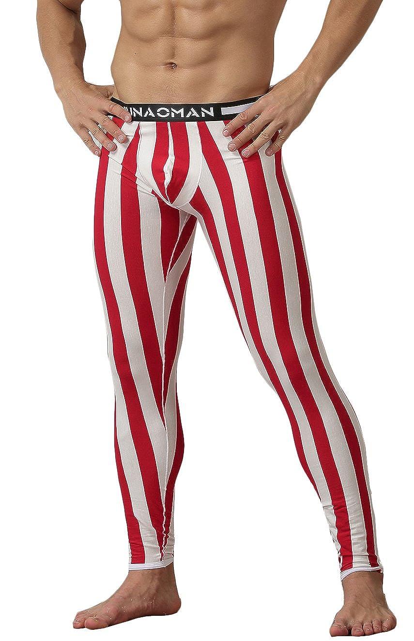 WUAMBO Men's Soft Thermal Base Layer Stripe Long John Bottoms VRO-N0227-01LET