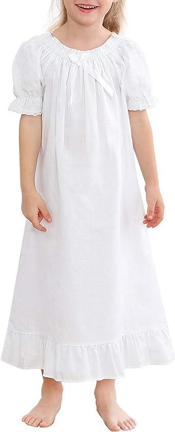 Ekouaer Girls Nightgowns Long Sleeve Sleep Shirt Cotton Princess Sleepwear Pajama Dress 4-13 Years