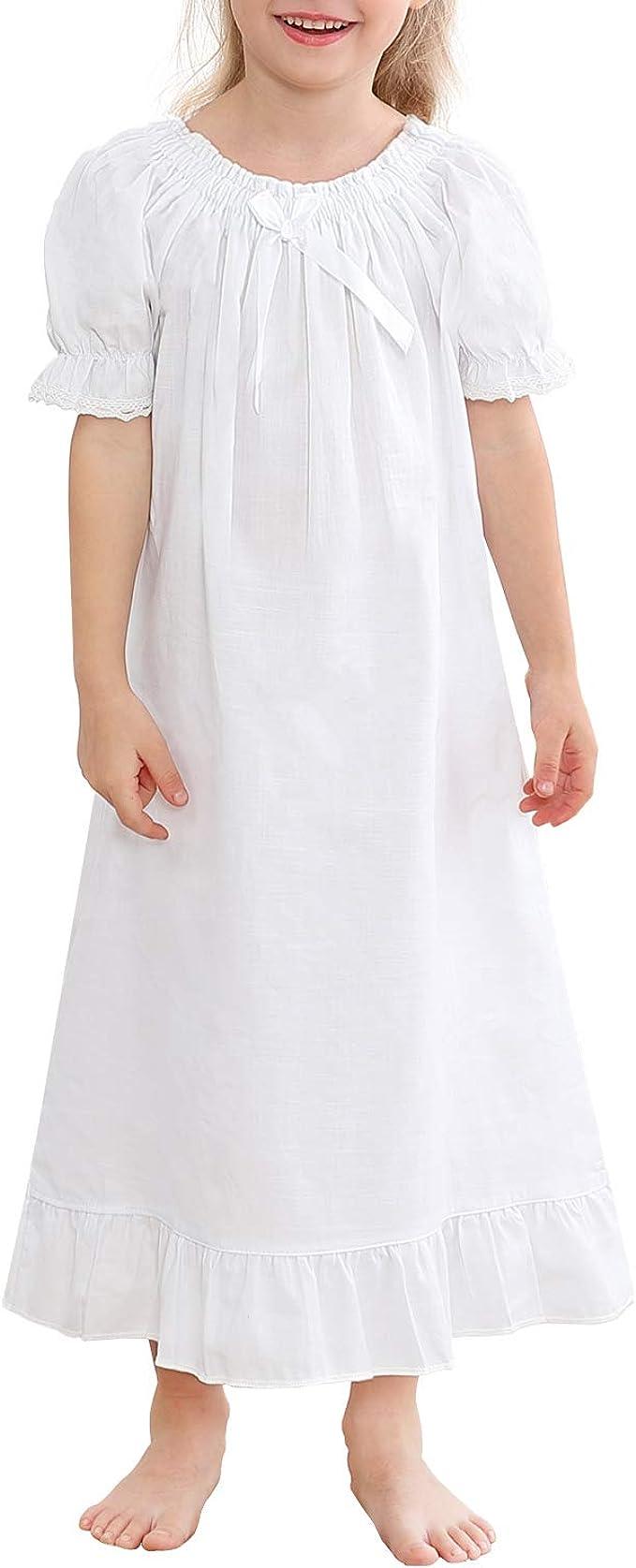 BOOPH Girls Nightgown Cotton Toddler Princess Short Sleeve Pajamas Dress