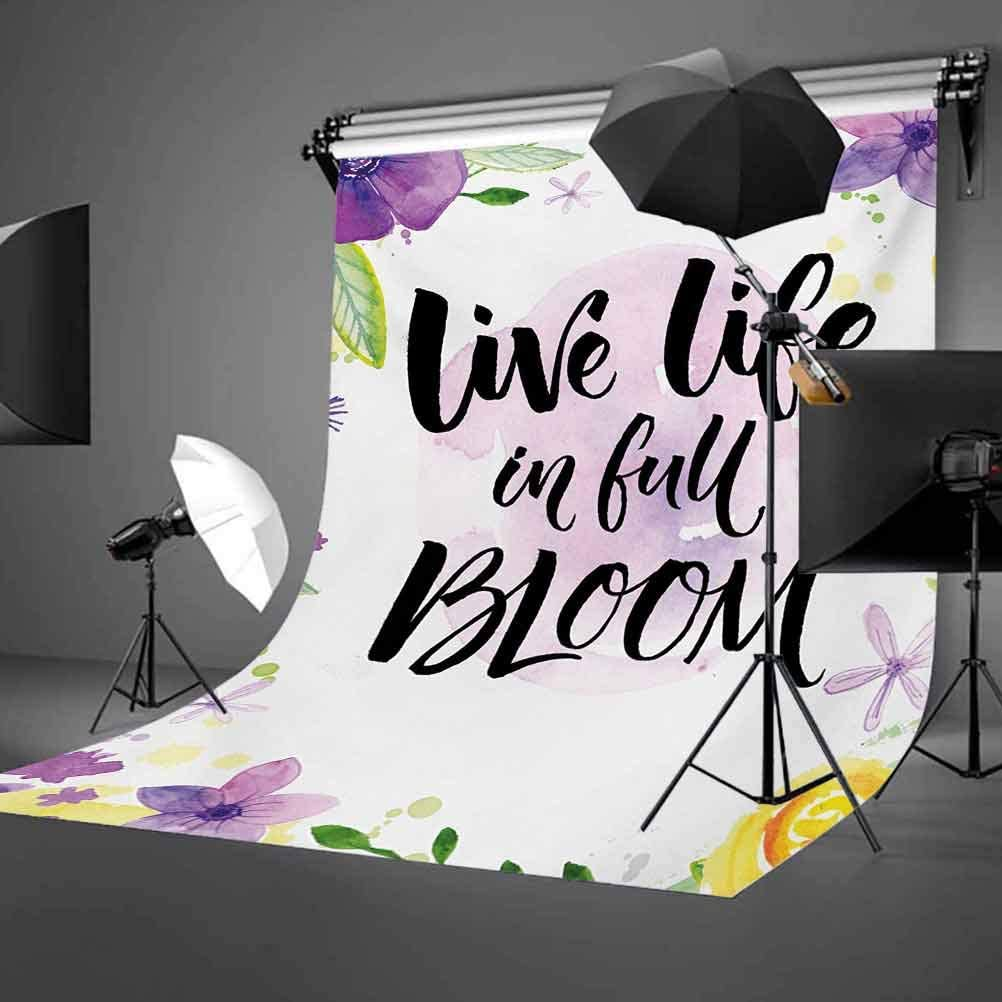 Live Life in Full of Blooms Motivational Quote with Floral Violets Print Background for Baby Birthday Party Wedding Vinyl Studio Props Photography Lifestyle 6x8 FT Photography Backdrop
