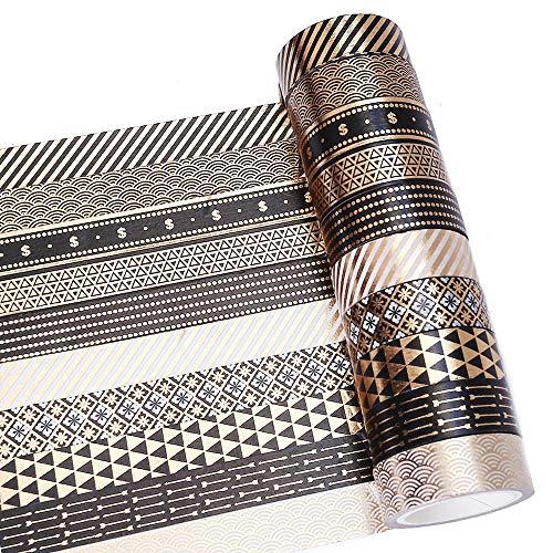 Gold Foil Washi Tape Set 10 Rolls Masking Black Art Decorative Tape Pack for DIY Scrapbooking, Bullet Journals, Crafts, Gift Wrapping, Holiday Decoration (15mm)]()