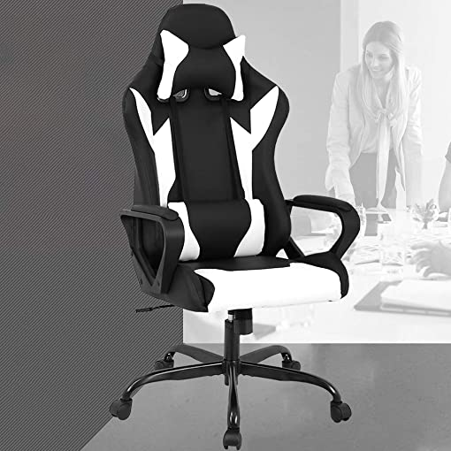 PC Gaming Chair Office Chair Desk Chair with Lumbar Support Arms Headrest High Back PU Leather Racing Chair Rolling Swivel Executive Computer Chair for Women Adults Girls,White