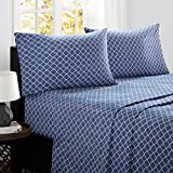 Fretwork Full Bed Sheets, Modern/Contemporary 100% Cotton Bed Sheet, Navy Bed Sheet Set 4-Piece Include Flat Sheet, Fitted Sheet & 2 Pillowcases