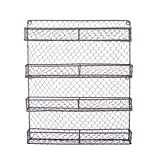 Home Traditions 4 Tier Vintage Metal Chicken Wire Spice Rack Organizer for Kitchen Wall, Pantry or Cabinet