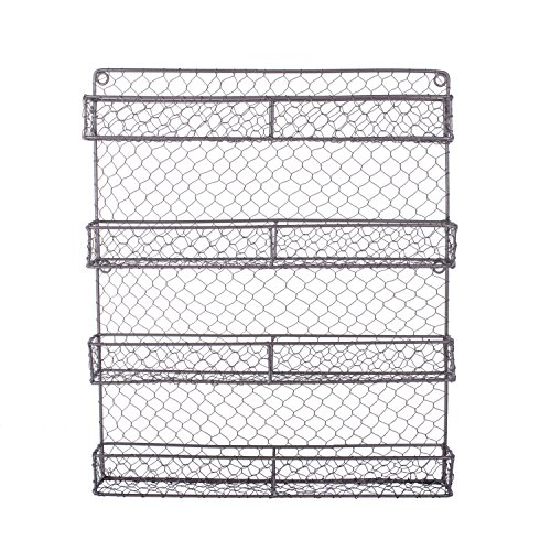 Home Traditions 4 Tier Vintage Spice Rack, Wall Mounted Chicken Wire Organizer for Kitchen Wall, Pantry, or Cabinet, Rustic Antique - Rack Wall Wire
