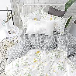 BuLuTu Garden Floral Print Cotton Kids Bedding Cover Sets Twin For Boys Girls Reversible Nature Duvet Cover Set White Zip Zipper Closure Premium Soft Comforter Cover,NO COMFORTER