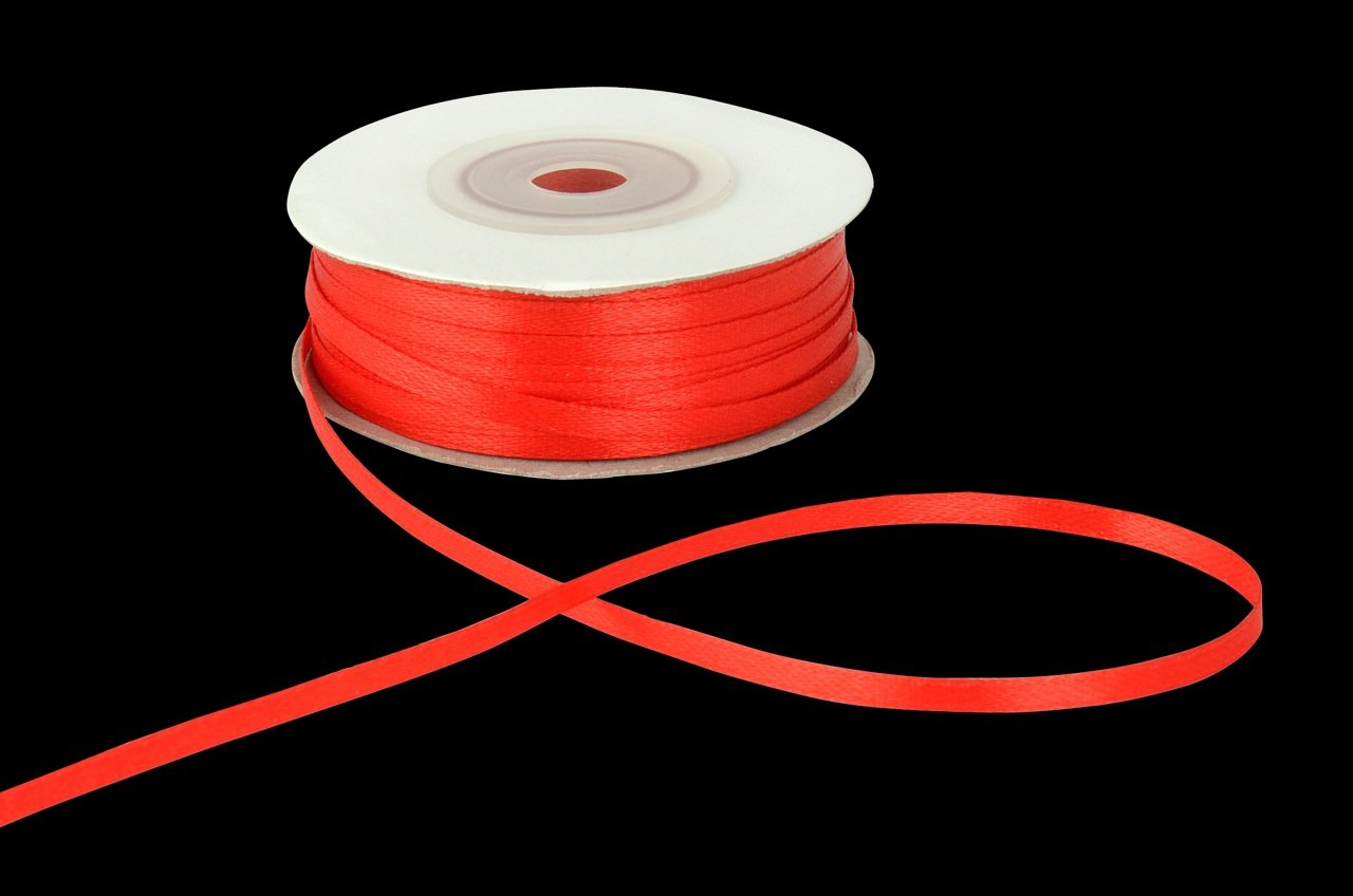 3mm x 50m Red Double Sided Satin Ribbon Anycraft-UK