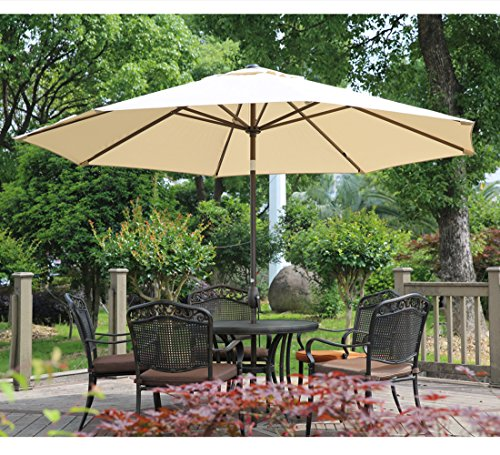 Abba Patio Outdoor Patio Table Umbrella with Push Button Tilt and Crank Lift, 11 Feet, Beige