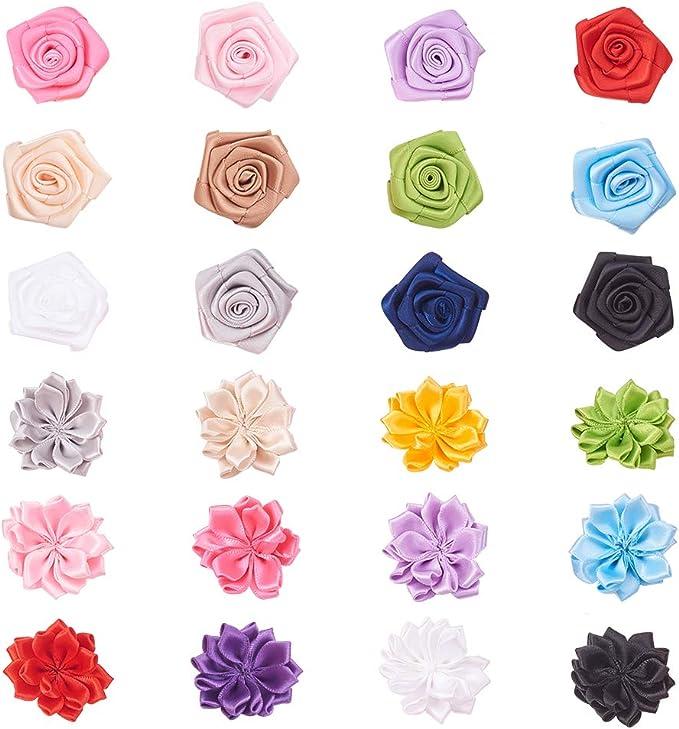 PandaHall Elite 24 Lazos de Flores de Colores Surtidos Hechos a ...