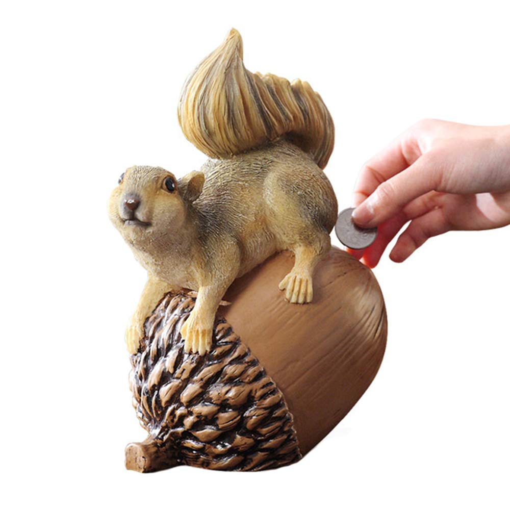 Colias Wing Home Decor Lovely Squirrel&Acorn Stylish Design Coin Bank Money Saving Bank Toy Bank Cents Penny Piggy Bank-Brown by Colias Wing
