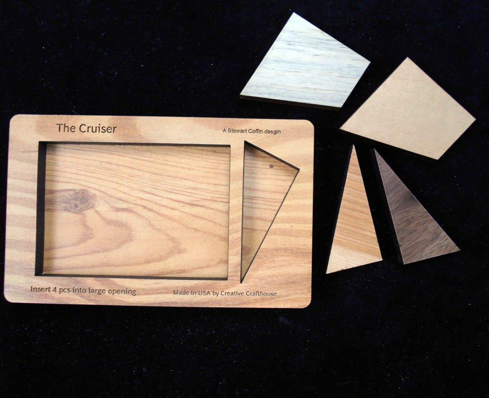 Cruiser - 4 Pc Wood Brain Teaser Puzzle - Size Small -Design By Stewart Coffin