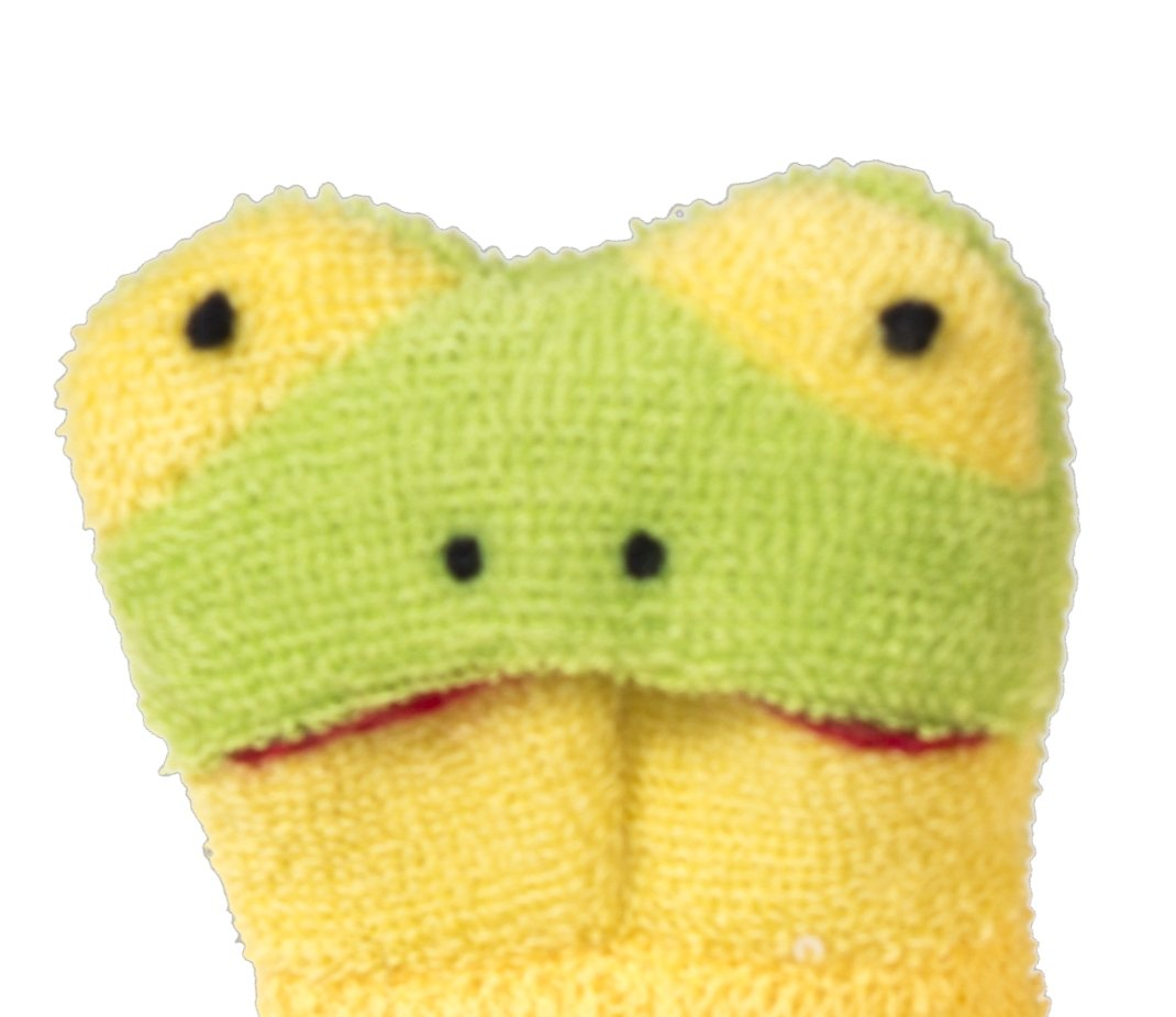 Guante de ba/ño con mu/ñecos color amarillo. Bieco 04004110 22 x 29 x 2 cm aprox.