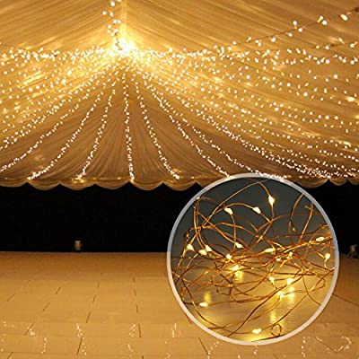 Solar String Lights, LDesign 8 Modes 33ft Solar Powered LED String Lights, Copper Wire Lights for Outdoor, Gardens, Homes, Dancing and Christmas Party - Warm White