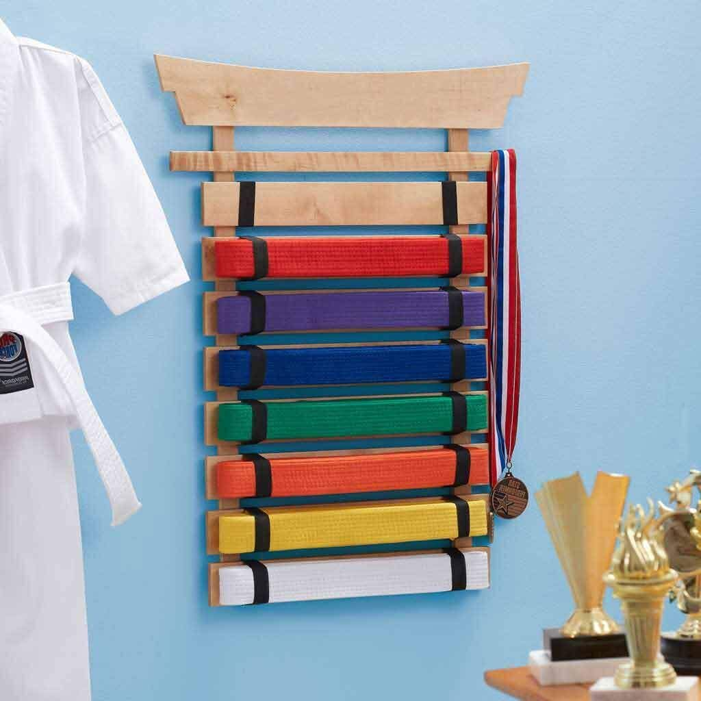 DIBSIES Personalization Station Natural Wood Karate Belt Display (8 Belt)