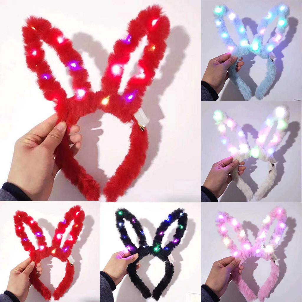 Led Bunny Headband Easter Head Boppers Light Up Plush Bunny Ears Headband Funny Easter Ears Costume Hairbands Party Props Accessories (White) by DaoAG - Easter Day (Image #3)