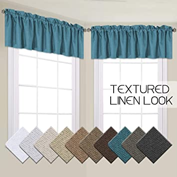 H.VERSAILTEX Blackout Linen Curtain Valances for Bedroom Elegant Treatment  Thermal Insulated Window Curtain Valance for Living Room Rod Pocket,52 by  ...