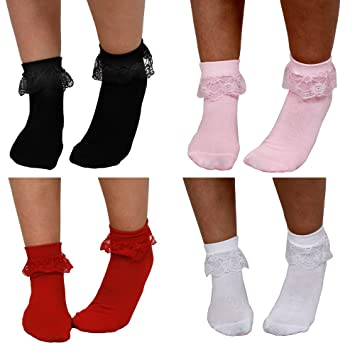Women/'s Frilly Ankle Trainer Socks Ladies Cotton Lace Top Anklet Black White 4-7