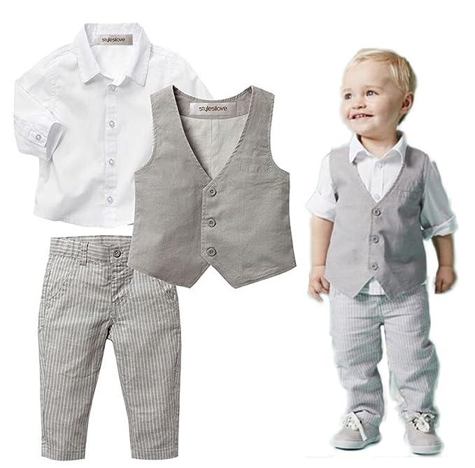 Amazon.com: stylesilove Infant Baby Kid Boy Formal Wear Shirt, Vest ...