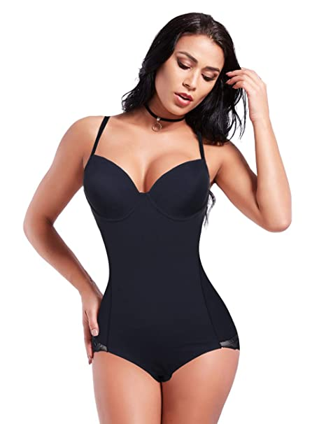 88ae208240e Shapewear Body Briefer with Lace Firm Body Shaper Bodysuit with Hidden Bra  Black2 S