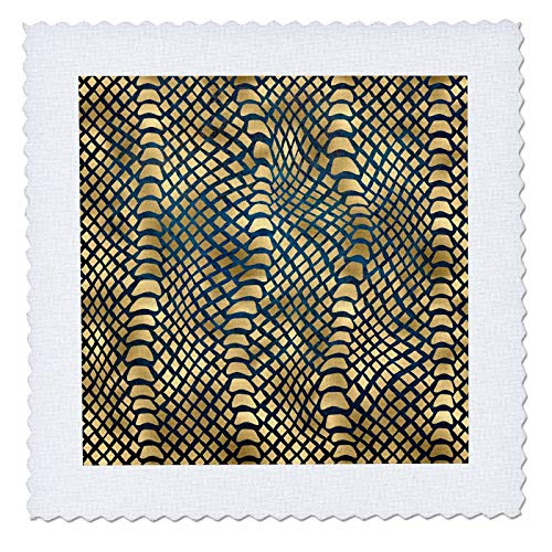 3dRose Anne Marie Baugh - Patterns - Trendy Image Of Gold Snakeskin On Blue Pattern - 18x18 inch quilt square ()