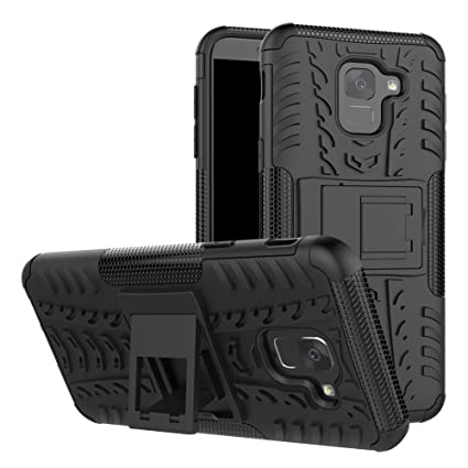 Galaxy J6 2018 Case, Lacass [Shockproof] Tough Rugged Dual Layer Protector Hybrid Case Cover with Kickstand for Samsung Galaxy J6 (2018) - Black