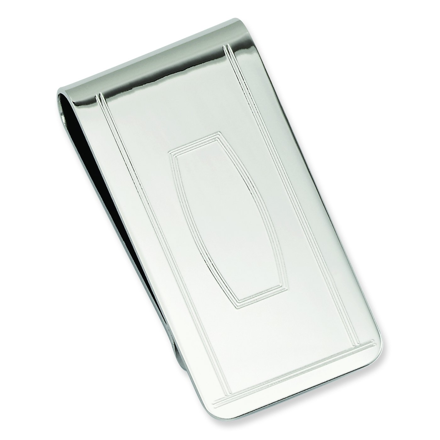 Length: 25 mm|Width: 50mm Diamond2Deal Rhodium-Plated Kelly Waters with Engraveable Area Money Clip