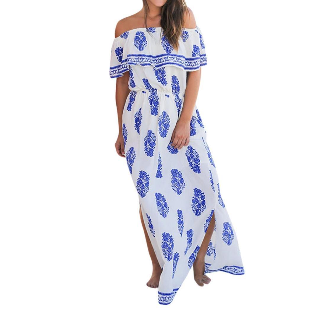 Trada Damen Kleider, Frauen verlässt Boho Maxi Lange Abend Party Kleid Strand Sommerkleid Minikleid Partykleid Cocktailkleid Flag Print Rundhalsausschnitt Strandkleid