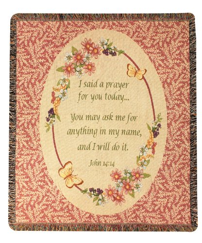 (Manual Weavers Today's Prayer Religious Inspirational Tapestry Throw Afghan Blanket 50