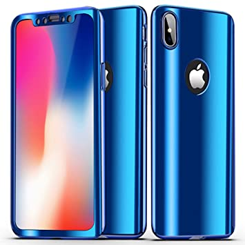 SainCat Funda iPhone X, 360 Grados Cobertura Completa para Ambas Caras Carcasa Ultra-Delgado Anti-Arañazos Duro Plástico PC Cubierta Espejo Mirror ...