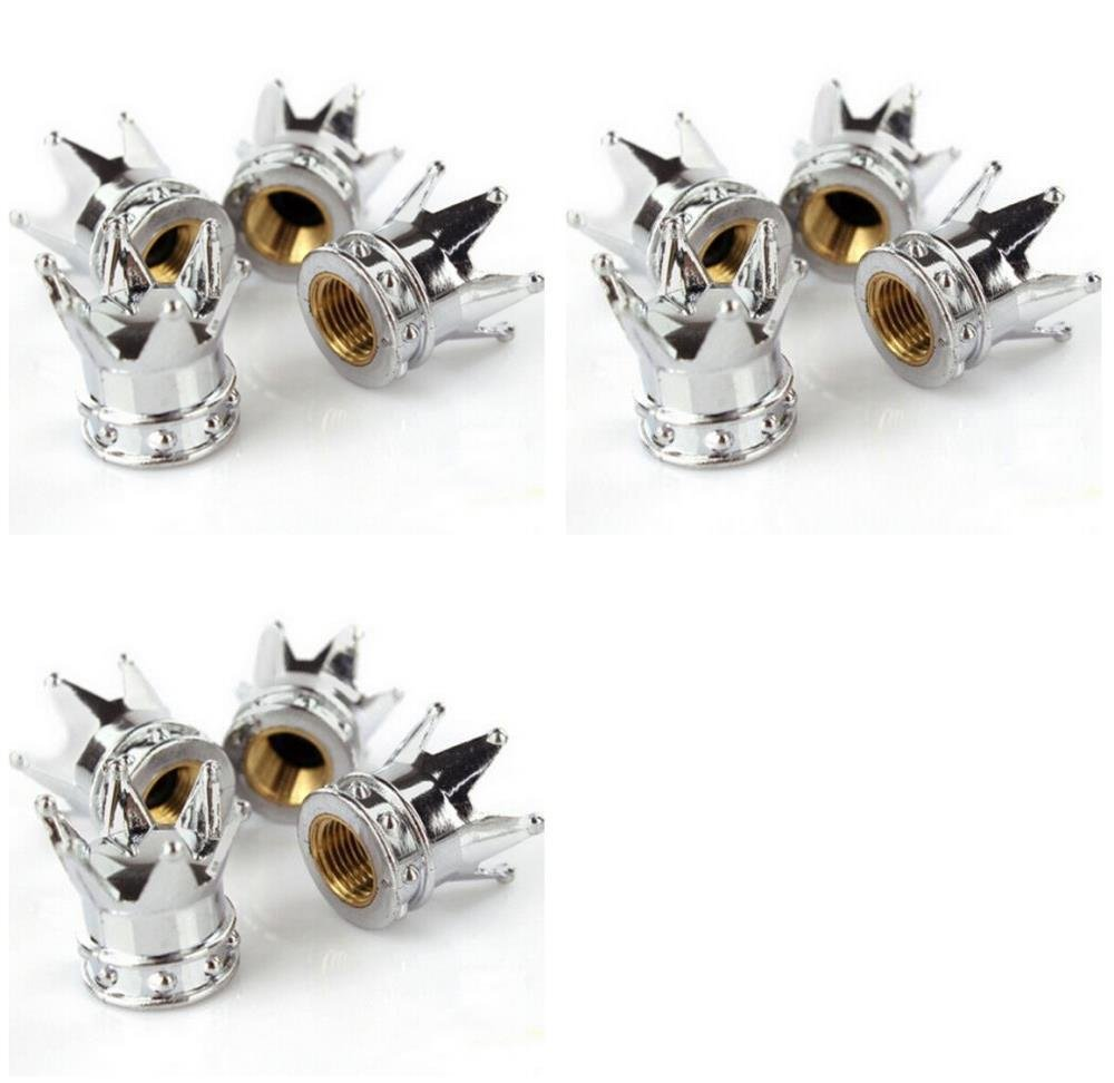 MM-Sports-USA Bicycle [Qty: 3] Set of 4 Crown Shaped Tire Air Valve Stem