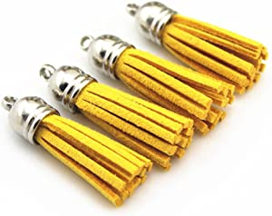 40 Silver Cap 1-1/2 Inch Faux Suede Tassel Tassel Charm with CCB Cap for Keychain Cellphone Straps Jewelry Charms (Gold)