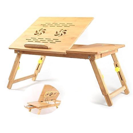 Escritorio plegable de bambú para ordenador portátil con soporte de enfriamiento y mesa