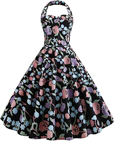 Women/'s Vintage Halter Neck 1950s Rockabilly Casual Cocktail Party Swing Dress