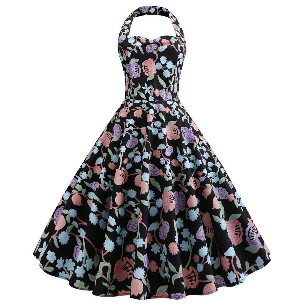 TIFENNY Womens Vintage Polka Halter Dress Fashion Backless Sleeveless Floral Sping Retro Rockabilly Cocktail Dresses
