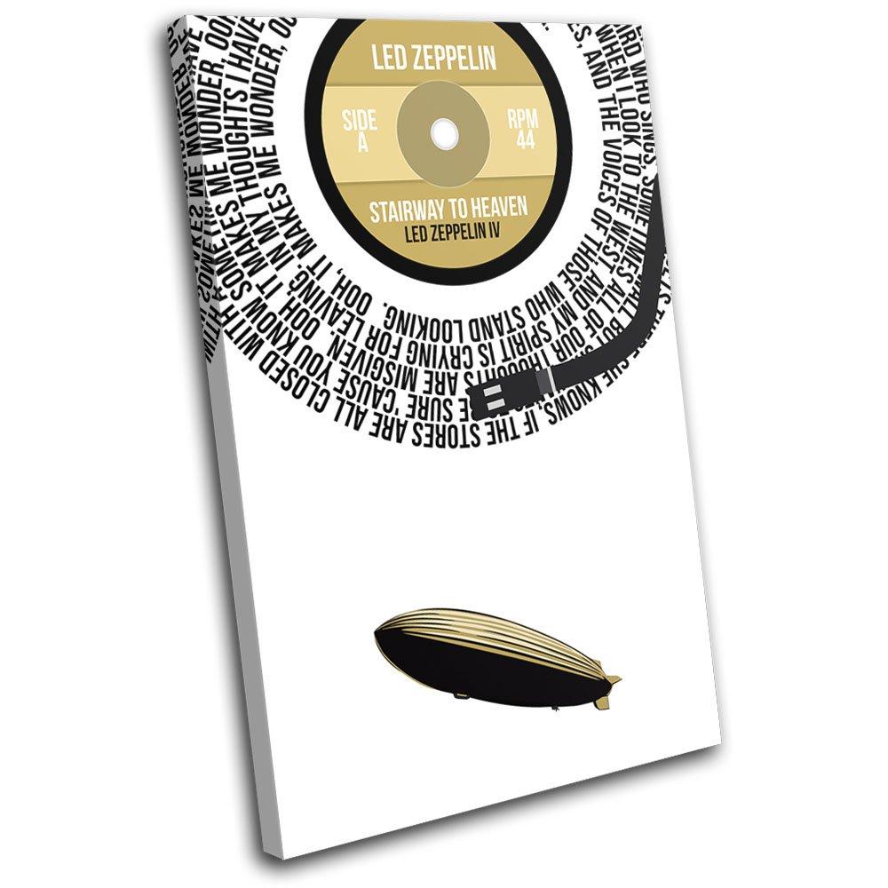 Bold Bloc Design - Led Zeppelin Stairway to Heaven Song Lyrics Vinyl Record Musical 60x40cm SINGLE Leinwand Kunstdruck Box gerahmte Bild Wand hangen - handgefertigt In Grossbritannien - gerahmt und bereit zum Aufhangen - Canvas Art Print
