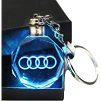 VILLSION Upgradetion LED Car Keychain Keyring Key Chain Gift with Box Color Changing Crystal Light For Audi