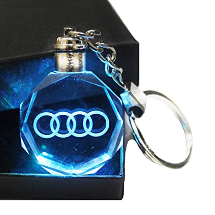 VILLSION Auto Llavero Coche Llavero Logo LED Colorido Cristal Luz Incluye Caja de Regalo