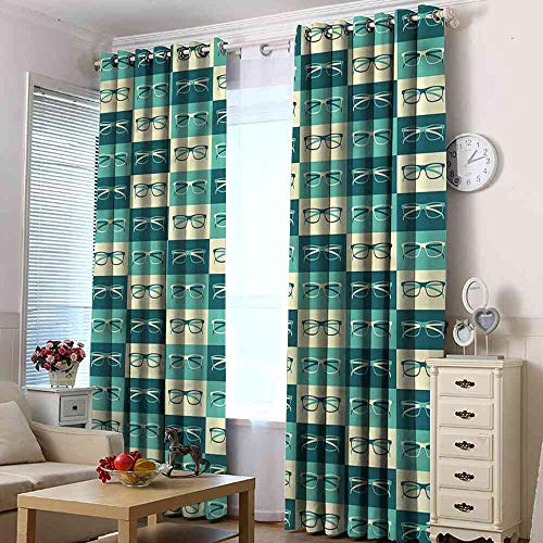 linyangpt Blackout Curtain Indie,Vintage Eyeglasses Cool Luxury Decorative Curtain, W96 x L108(245cm x 274cm)